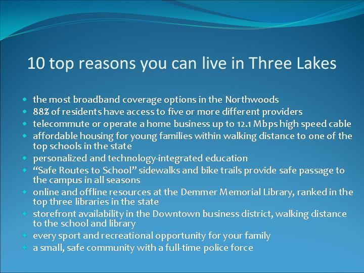Ten Reasons to Live in Three Lakes